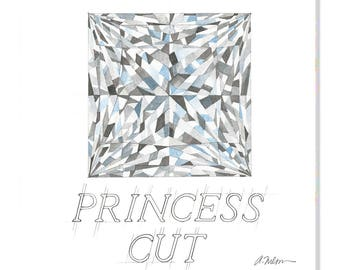 Princess Cut Diamond Watercolor Rendering printed on Canvas