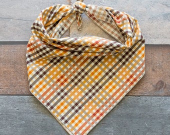 Fall Plaid Dog Bandana, Orange Plaid Bandana, Plaid Dog Bandana, Tie On Bandana