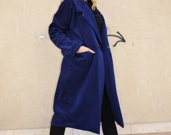 Extravagant Winter Blue Cashmere Coat, Wool Women's Coat, Asymmetric Coat, Large Pockets Coat by SSDfashion