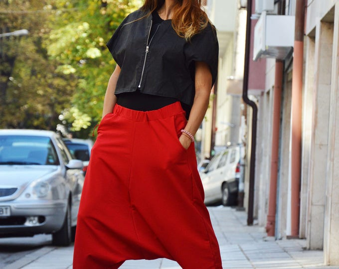 Loose Red Harem Pants, Extravagant Drop Crotch Trousers, Casual Plus Size Pants, Maxi Sports Pants by SSDfashion