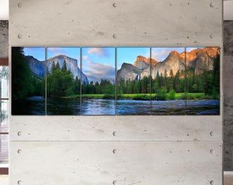 Large Yosemite Nation Park panorama panoramic wall art canvas art Yosemite Nation Park prints large wall decor print Office Decor