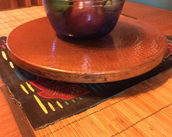"""Hammered Copper Lazy Susan rotating serving tray (14"""" diameter)"""