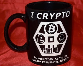 Bitcoin Themed / Cryptocurrency / HODL / Blockchain /  Crypto / Keep Calm and... - Hand Etched Coffee Mug - Black 11oz