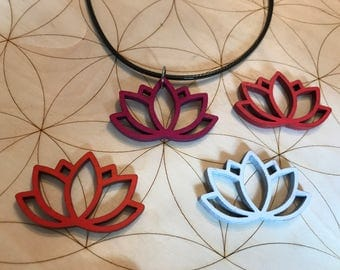 Lotus Flower Wood Pendant - Painted - Birch Wood - Sacred Geometry - Choose your color - Pink - Orange - Red - White