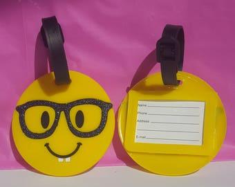 Nerd with Glasses Emoji Luggage Tag with Glitter Accents, Glasses Emoji Keychain, Nerdy Emoji Bookbagtag, Nerd Emoji, Glasses Emoji