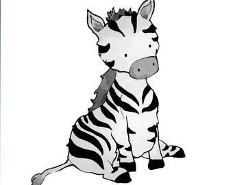 Zebra Nursery Art Print - Safari Animal Wall Art for Kids Room