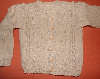 JACKET / CARDIGAN BEIGE dots Irish 12 months hand knitted