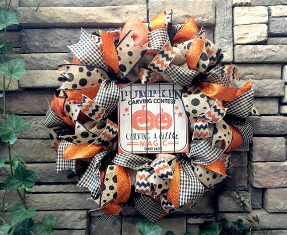Halloween Wreaths, Halloween Wreath, Pumpkin Wreath, Primitive Halloween Wreath, Farmhouse Wreath, Fall Wreath, Halloween Decor, Halloween
