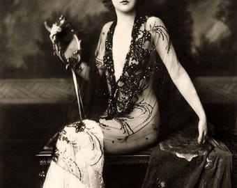 Vintage 8X10 Reprint Witchy Lady, Gypsy Lady, medieval times antique photograph B&W