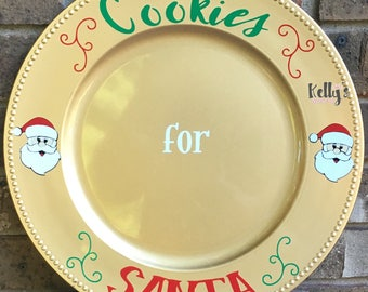 Cookies for santa-santa cookie plate-plate for santa cookies- personalized santa cookie plate-custom santa cookie plate-Santa cookie display