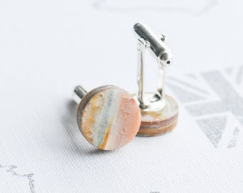 Orange, Pearl, Cufflinks, White, Polymer Clay, Mens Cufflinks, Womens Cufflinks, Gifts for Her, Gifts for Him, Silver, Fimo, Premo