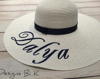 Monogrammed straw hat, Custom embroidered beach hat, Personalized hat, Floppy Straw hat, Beach hat, Bridesmaids gift, Bachelorette gift