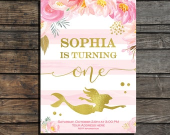 Mermaid birthday invitation Mermnaid invites Pink and gold first birthday invite Floral birthday invitation  Under the sea party invites