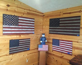 Rustic Wooden American Flag - Large/Light