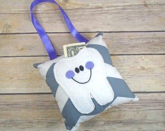 Lost Tooth - Tooth Fairy Pillow Girl - Tooth Fairy Pillow - Tooth Fairy - Tooth Fairy Gift - Kids Pillow - Tooth Keeper - Grey and Purple