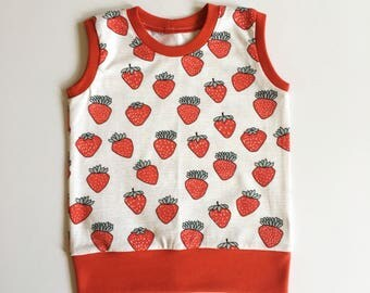 Baby tank top, 18 months, Baby girls tank top, Girls t shirt, Baby girls T shirt, Organic cotton, Strawberry print, Baby summer clothes