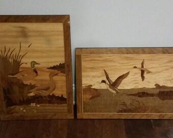SET 2 Wood Art Marquetry Inlaid Picture Art Pintails BIRD Kochton Chicago PAIR