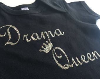 Drama Queen baby girl onesie>> Confetti gliter printed>>Baby girl clothing