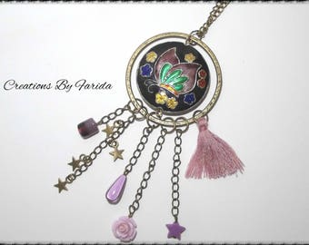 Necklace purple floral / butterfly and bronze with hanging beads