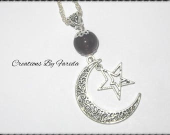 Necklace with Moon pendant, Star and purple bead