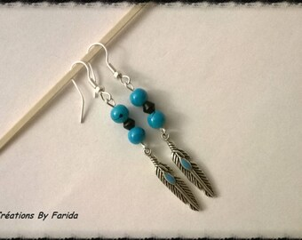 turquoise beads and Indian feather charm earrings