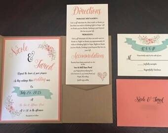 Rustic Wedding Invitation Set - SAMPLE Customized
