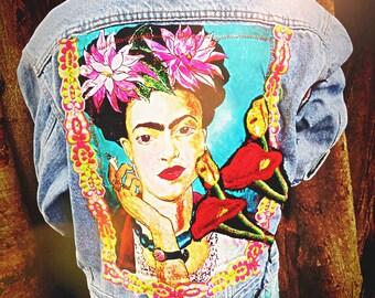 Frida Kahlo Denim Jean Jacket Kids Size 10-14