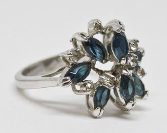 Silver tone multi-stone  ring