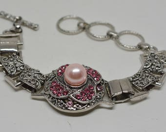 Stunning silver tone and crystal bracelet