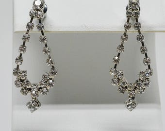 Stunning silver tone crystal earrings