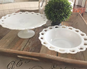 Vintage Milk Glass, Serving Bowls, White Milk Glass,  Lace Set of 2 Serving Bowls, Wedding Decor, Party Decor, Country French, Kitchen #084