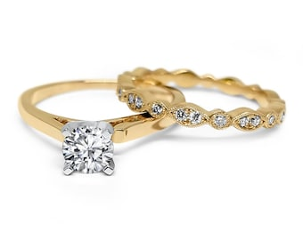 Yellow Gold Forever ONE moissanite wedding set Art deco engagement set 14k solid gold