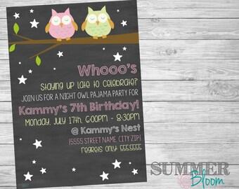 Night Owl Late Night Pajama Party Sleepover Birthday Invitation
