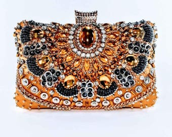 Gold Beaded Statement Clutch