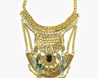 Esmerelda - Gold & Green Statement Necklace