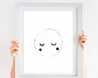 moon nursery art print, Abstract Full Moon Art Print, bedroom nursery decor, black and white minimalist nursery art, good night art, Luna