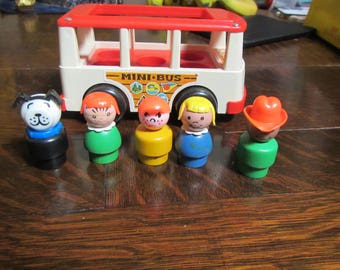 Vintage Fisher Price Little People Mini Bus