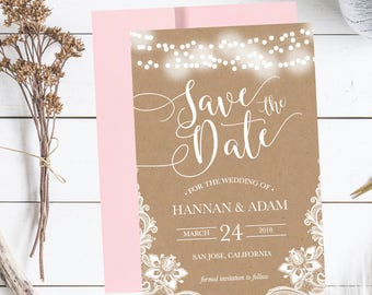 Printable Wedding Save The Date Cards Editable Template, Rustic Lace Modern Lights PDF DIY Save-The-Date Invitation Instant Download,