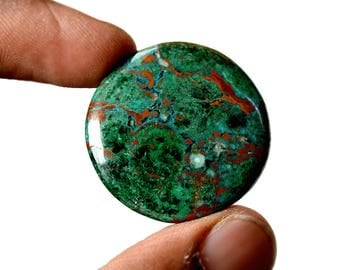 Chrysocolla 10.2 Cts AAA Quality Natural Gemstone Attractive Designer Round Shape Cabochon 31x31x6 MM R14142