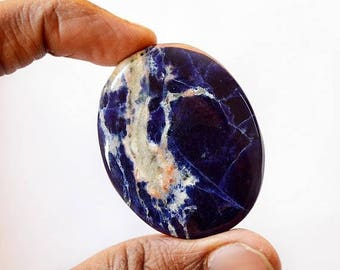 80% Sale Sodalite 84 Cts Natural Gemstone Cabochon Designer Oval  Shape Loose Cabochon 46x36x6 MM AC2026