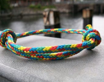 Sailing rope bracelet, surfers Rainbow, 4 mm, maritime nautical sailing knots, ropes, wire jewelry, sea surf Ocean