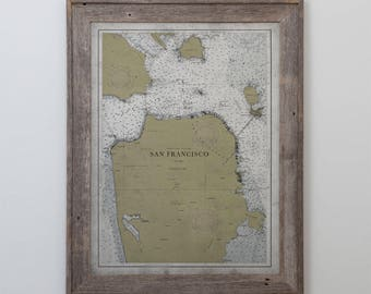 San Francisco Map : RECLAIMED BARNWOOD FRAME - Vintage Nautical San Francisco Map - Circa 20th Century - Weathered Map