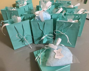 Turquoise and White Cotton Candy with Custom Label and WITH Gift Bag
