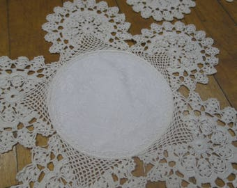 Pair Antique Edwardian Hand Worked Crochet Lace Doilies