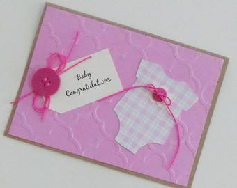 Kraft Baby Card, Homemade Its a Girl Card, Rustic Handmade Baby Girl Congratulations, New Baby Girl, New Addition, New Parents, New Arrival