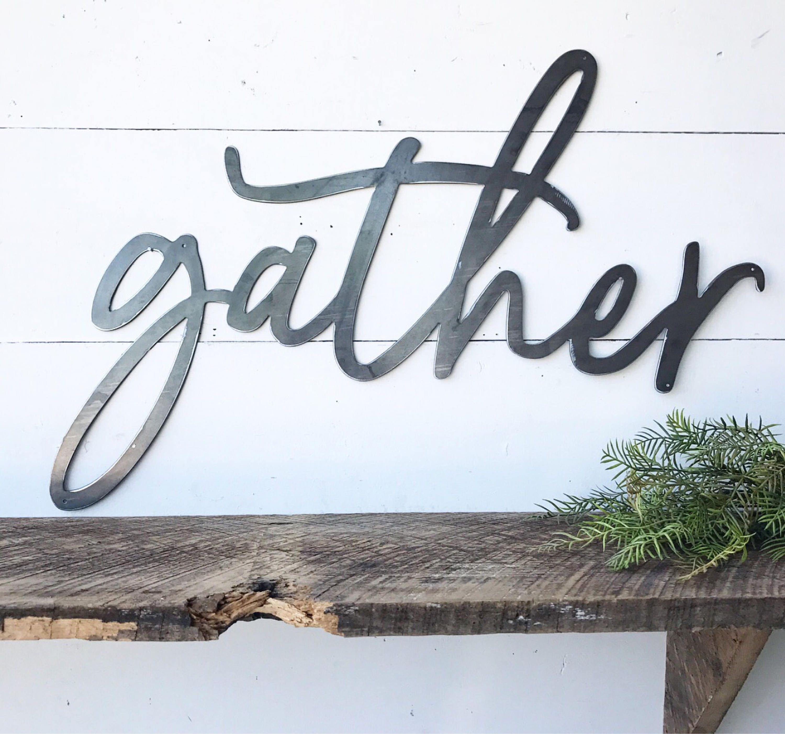 Gather metal sign metal wall art gather sign metal words zoom amipublicfo Gallery