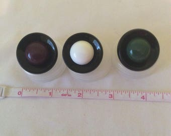Jubilee Buttons  1 1/2 inch Black with colored rim.  White, Purple or Green