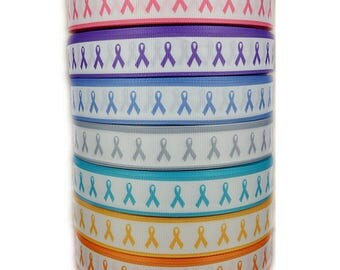 "7/8"" Cancer Awareness Pattern Printed White Grosgrain Ribbon"