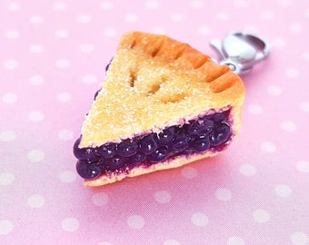 Blueberry pie slice charm with sugar crust- Polymer clay food Pie Necklace - Miniature food jewelry - Blueberry Pie Earrings