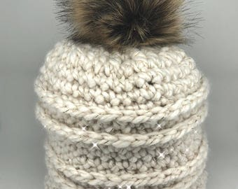 Cream and Gold Sparkle Knit Beanie with Pom Pom - Slouchy White Glitter Textured Knitted Hat Cap with Faux Fur Pompom